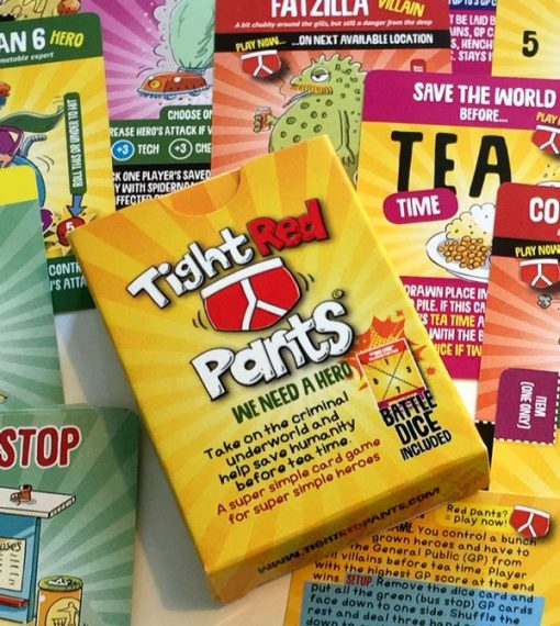 tight red pant super hero card game by gunpowder studios