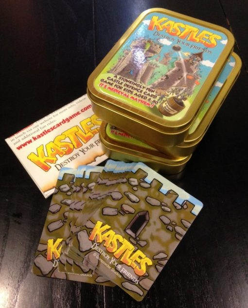 kastles card game deluxe edition in a gold tin by gunpowder studios