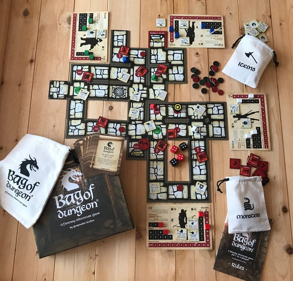 Bag of Dungeon - A fantasy adventure dungeon crawler board game for 1-4 players