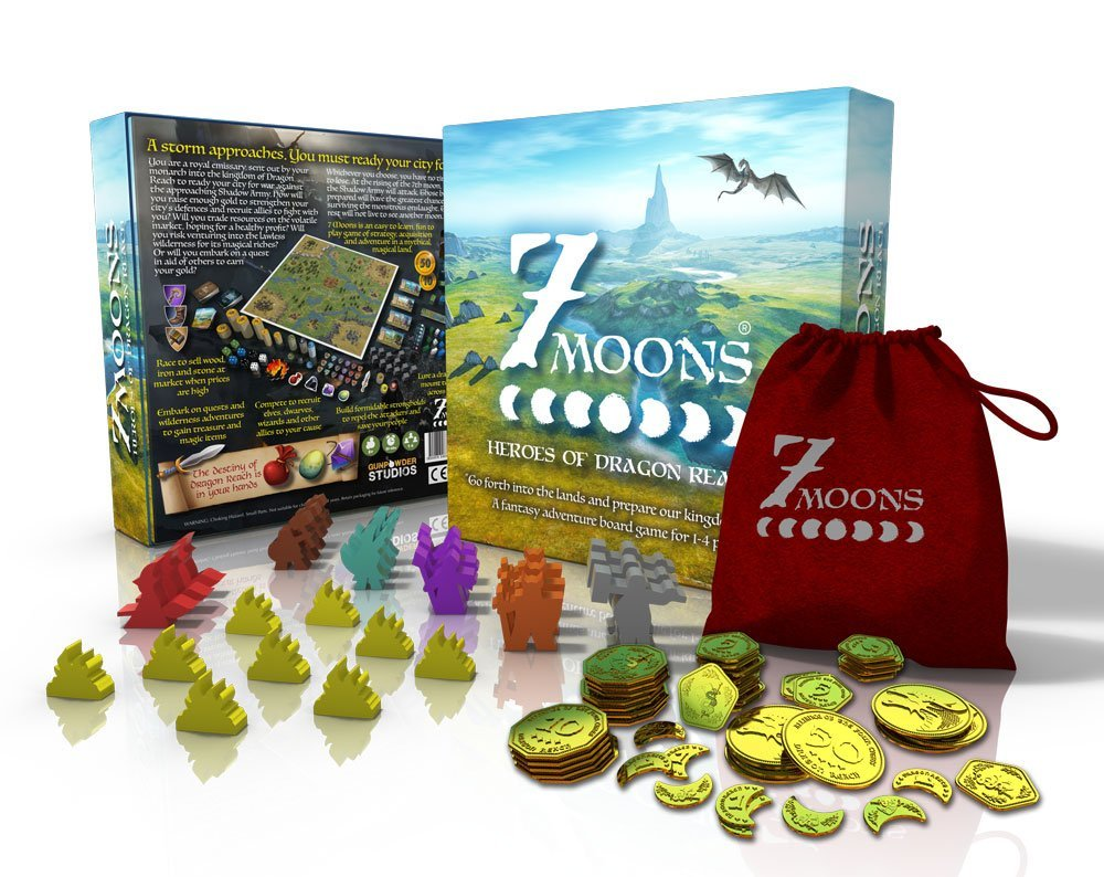 7 Moons: Heroes of Dagon Reach Deluxe a fantasy adventure family board game for 1-4 players