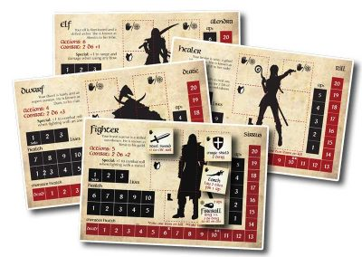 play fantasy dungeon characters healer, fighters, dwarves and elves